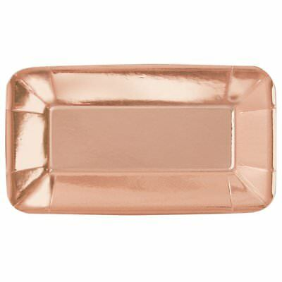 Foil Rectangular Paper Appetiser Plates, Pack of 8, Rose Gold