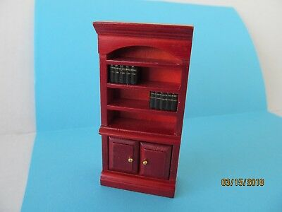 Dollhouse Miniature Half Inch  Scale Red Mahogany Bookcase