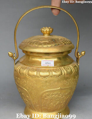 Chinese Bronze Gold Gilt Ancient People Tree Fish Lotus Portable Pot Jar Crock