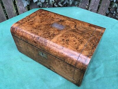 Superb Victorian Blur Walnut Writing Slope with Secret Drawers and Ink Wells