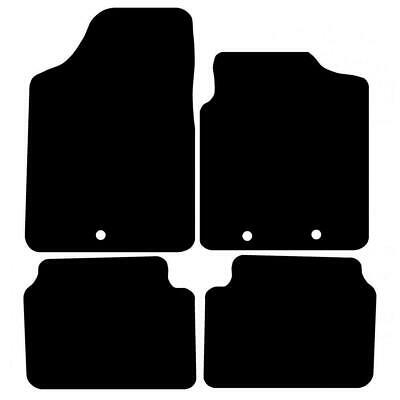 Tailored Black Car Floor Mats Carpets 4pc Set with Clips for Hyundai i10 09-14