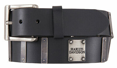 Harley-Davidson Men's Metal Plate Genuine Leather Belt, Black HDMBT11398-BLK