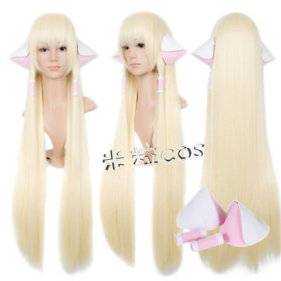 Chobits Eruda Cosplay Costume Prop Long Straight Blonde 100cm Wig+Hairnet + Ears