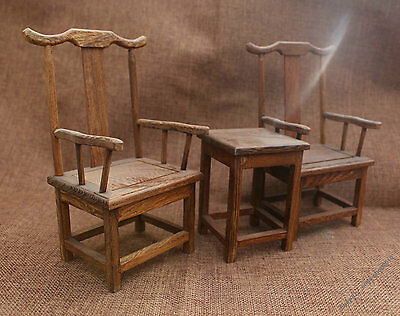 China Huanghuali Wood carved small seat chair table Set Sculpture Decoration