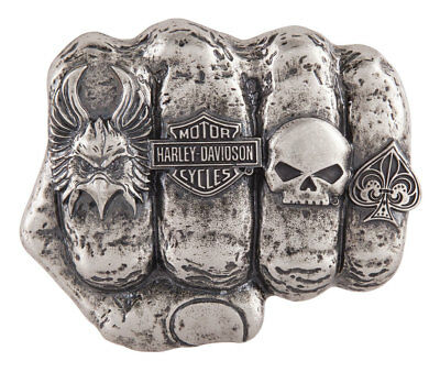 Harley-Davidson Men's Fist Forward Belt Buckle, Antique Nickel Finish HDMBU11417