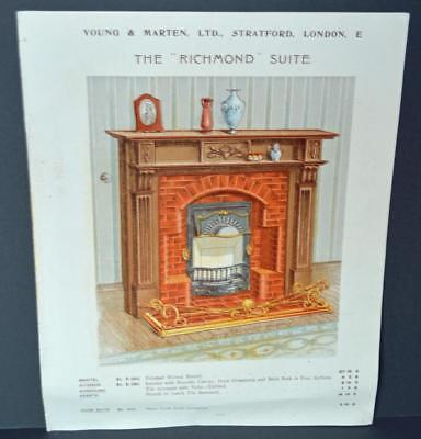 Vintage Architectural Advert ' Young and Marten Stratford ' Richmond Fireplace.