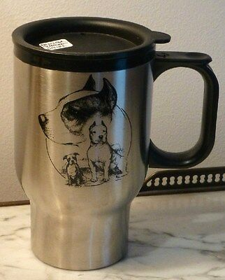 "Staffordshire Terrier  6""H. Quality Stainless Steel Travel Mug W/ Sealed Lid,New"