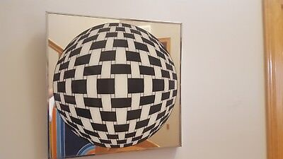 Awesome RARE Vintage Mid Century op art black white sphere Vasarely 70s mirror!!