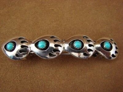 Native American Jewelry Turquoise Bear Paw Hair Barrette! Navajo Indian