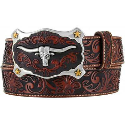 Justin Western Mens Belt Leather Embossed Longhorn Buckle C11194