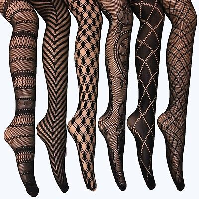 Women Fishnet Lace Stocking Tights Pantyhose Regular & Plus Sizes (Pack of 6)