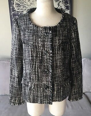 A Pea In The Pod Maternity Women's Tweed Blazer Jacket Medium Wool Blend