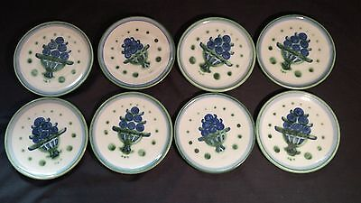 "Lot of 8 Vintage M A Hadley Bouquet Bread/Dessert Plates ~ 6.25"" ~ Blue & Green"