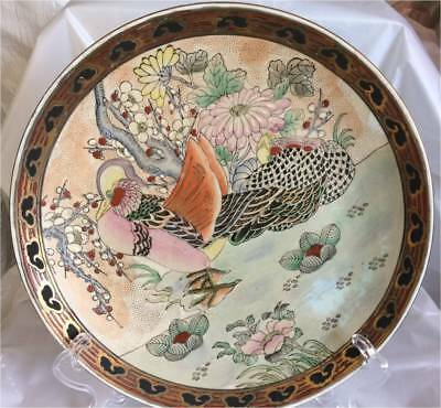 "Vintage Macau Hand Decorated 12 1/2 "" Plate  Beautifull Duck"