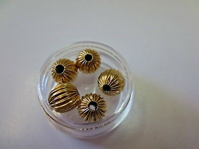 Lot of 5 pc 14K Solid Yellow Gold Corrugated Spacer Beads 8 mm / 1.27 Gram