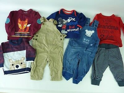 Boys Clothes Bundle. All 6-9 Months. 7 ITEMS. Inc 2 Dungarees 1 Joggers 4 Tops