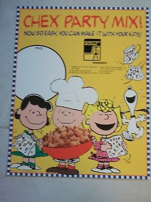 Ralston CHEX PARTY MIX SIGN Snoopy Charlie Brown Lucy 1991 SPARTAN STORE POSTER
