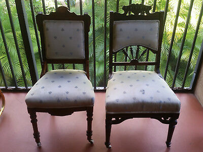 Pair 1890-1900 American Eastlake Victorian /chairs - Require New Upholstery