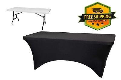 Stretch Fit Rectangle Table Cloths Cover 6 FT Black Wrinkle Free Tablcloth