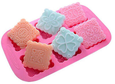 6 cavity Square Shapes Silicone Mould, Chocolate, Jelly, Cookies, Soap, Melts.