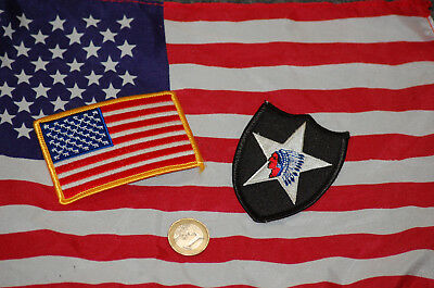 US ARMY Patch Aufnäher 2nd Infantry Division + US Flag NEW OLD RARE  Restposten