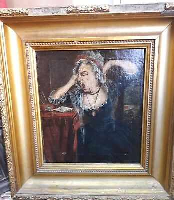 Original Antique 19thC Oil Painting, old lady. Painting in  wood very nice fram