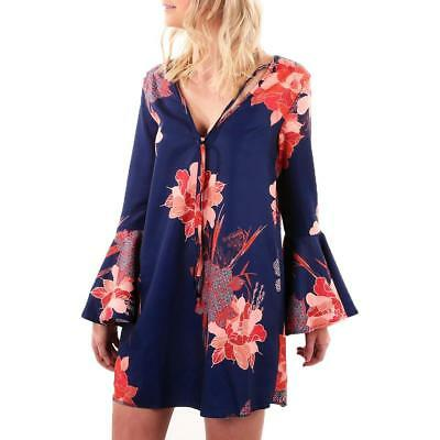 2017 Autumn Dress Women Sexy V Neck Flare Long Sleeve Floral Print Party Mini Dr