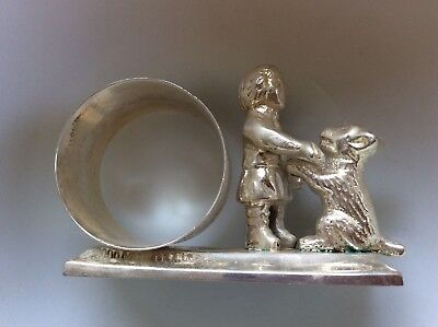 VTG Victorian Repro Silver Plate Figural Napkin Ring 3D Child with Dog Plated