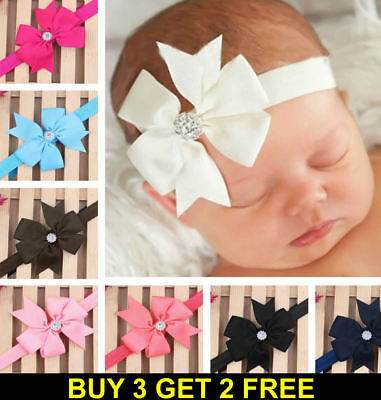 New Crystal Elastic Baby Headdress Kids Hair Band Girls Bow Newborn Headband