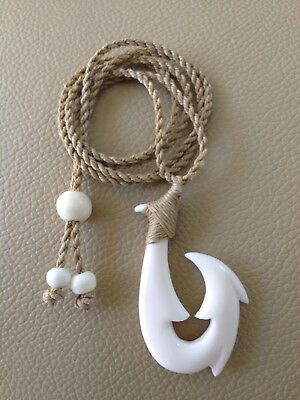 """Hawaiian Fishhook Necklace Carved From Buffalo Bone 2""""tall .With Adjustable cord"""