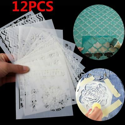 12pcs/set Walls Painting Embossing Template Layering Stencils Scrapbooking