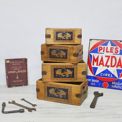 Vintage Michelin Box Wooden Spares Crate Classic Car Tools Enamel Sign