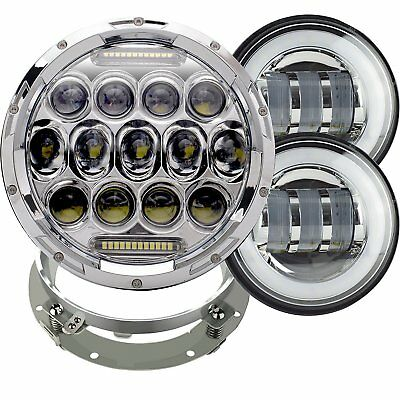 "7"" LED Daymaker Headlight  +Fog Passing Lights For Harley Touring Road King FLHR"