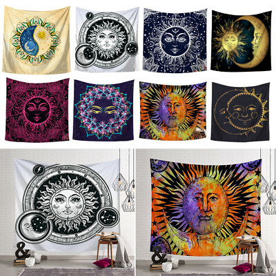 Sun and Moon Boho Tapestry Hippie Wall Hanging Room Bedspread Mat Home Decor AU