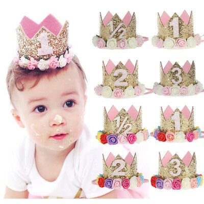 Newborn Baby Girls 1st Birthday Party Princess Crown Flower Tiara Headband AU