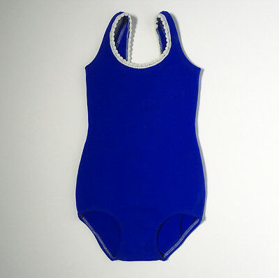 Vintage 60s Royal Blue Crochet Swimsuit Bathing 6 7 8 Years FREE SHIPPING