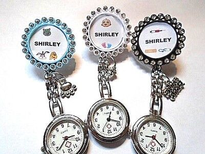 Nurse Watch YOUR NAME Charms Clip Rhinestone Brooch Student Midwife Vet Nurse