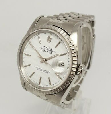 Rolex Datejust 16220 Mens 36mm Steel White Tapestry Dial Watch