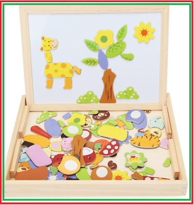 Wooden Puzzle Magnetic Jigsaw Toys Board Educational Gift Kids Children Drawing