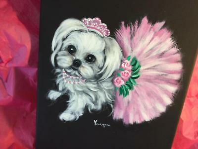 Maltese In Tutu Original Painting By Monique