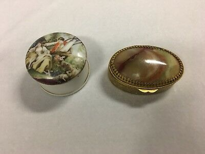 Two Vintage Pill Boxes One Topped With Agate Stone & One With Painted Top