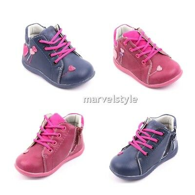Baby Girls Trainers High-Top Zip Eco-Leather Shoes Autumn Boots Uk 3-6 /Eu 19-23