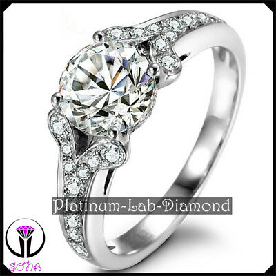 Luxury 1.50Ct Platinum PT950 VS1 Synthetic Woman Grown Diamond Promise Ring RITA