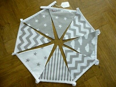 Assorted Grey/White Cotton Fabric Bunting 2 Mtrs - Baby, Nursery, Gift- NEW