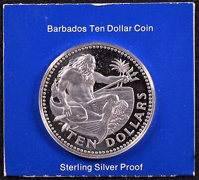 1975 Barbados Ten Dollar Sterling Silver Coin Minted at the Franklin Mint w/ COA