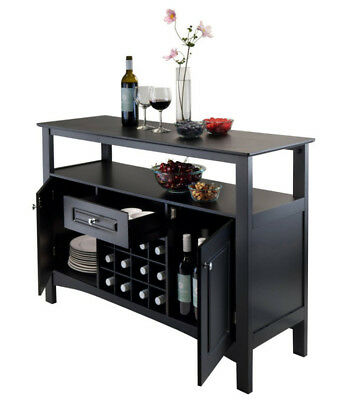 Dining Buffet Built In Wine Cabinet Glass Doors 2 Drawers