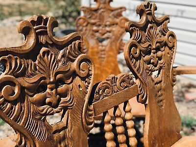RARE Love Seat Chair Antique Revival North Wind Face Scary Art Creepy Furniture