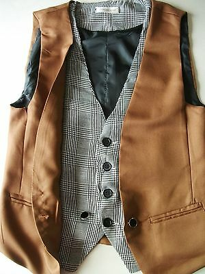 """Mens / Teens WAISTCOAT Approx Size 32""""? Brown Double front Formal Wedding WS3"""