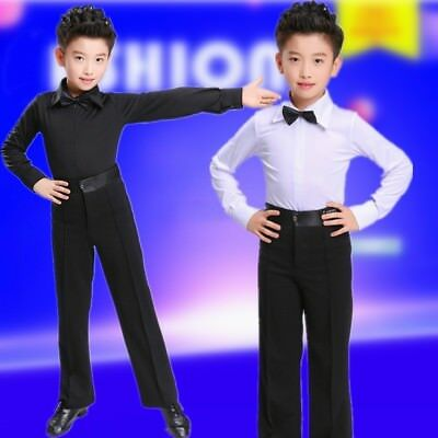 06ea79699757 Boy Dance Shirt Pants Ballroom Salsa Samba Smooth Latin Tango Garment Set  Black