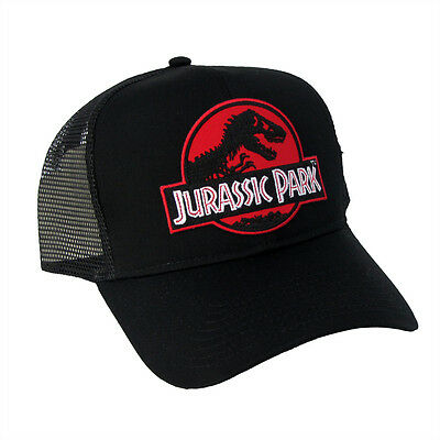 Jurassic Park Movie Red Logo Sci Fi Patch Snapback Black Trucker Mech Cap  Hat c3e1c3b9562e